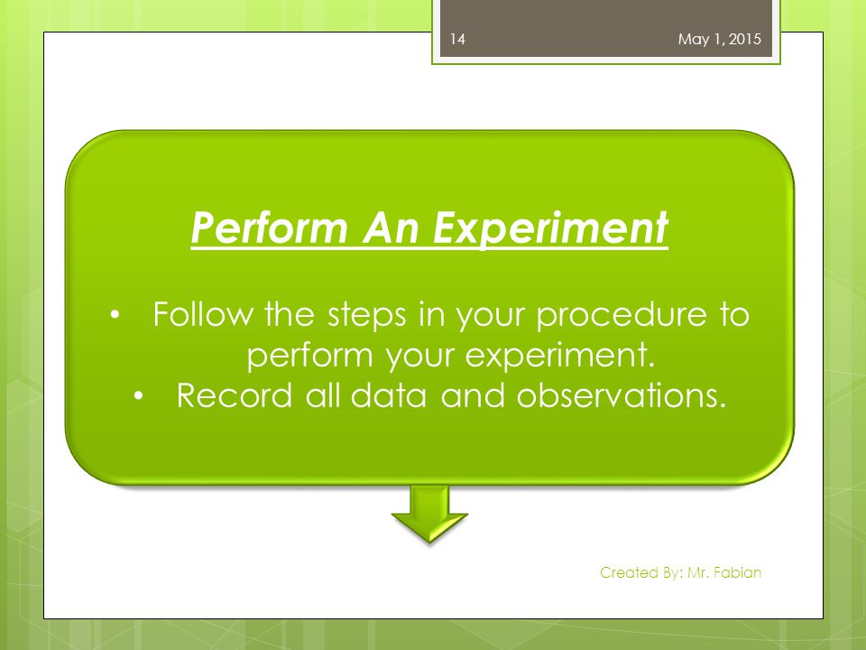 May 1, 2015 Created By: Mr. Fabian 14 Perform An Experiment Follow the steps in your procedure to perform your experiment. Record all data and observa