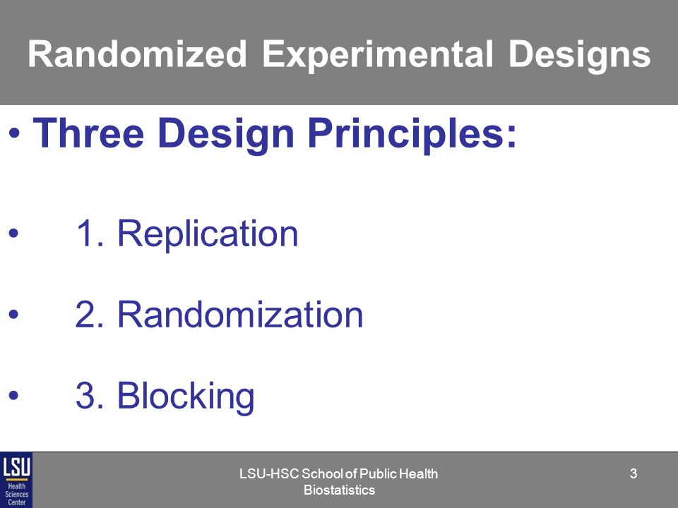 LSU-HSC School of Public Health Biostatistics 24 Randomized Experimental Designs 3.