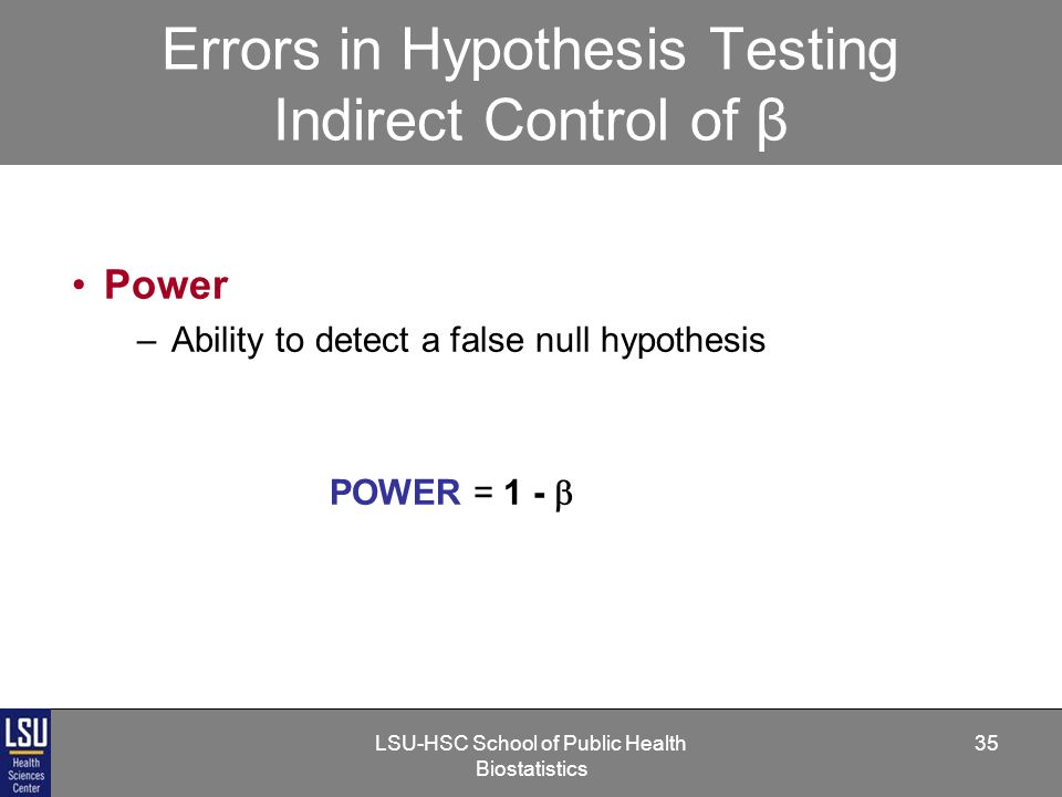 LSU-HSC School of Public Health Biostatistics 35 Errors in Hypothesis Testing Indirect Control of β Power –Ability to detect a false null hypothesis POWER = 1 - 