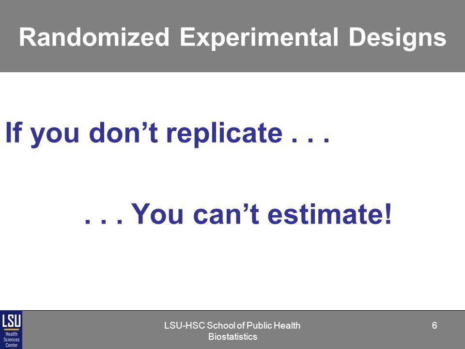 LSU-HSC School of Public Health Biostatistics 17 Randomized Experimental Designs Three Aspects of Any Statistical Design Treatment Design Sampling Design Error Control Design