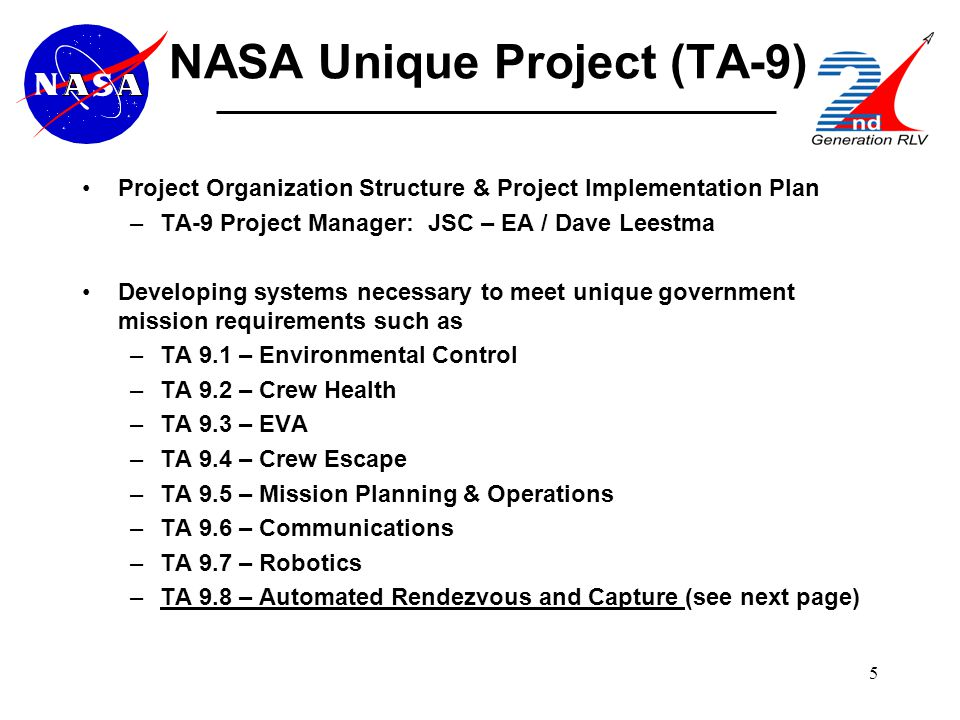 5 NASA Unique Project (TA-9) Project Organization Structure & Project Implementation Plan –TA-9 Project Manager: JSC – EA / Dave Leestma Developing systems necessary to meet unique government mission requirements such as –TA 9.1 – Environmental Control –TA 9.2 – Crew Health –TA 9.3 – EVA –TA 9.4 – Crew Escape –TA 9.5 – Mission Planning & Operations –TA 9.6 – Communications –TA 9.7 – Robotics –TA 9.8 – Automated Rendezvous and Capture (see next page)