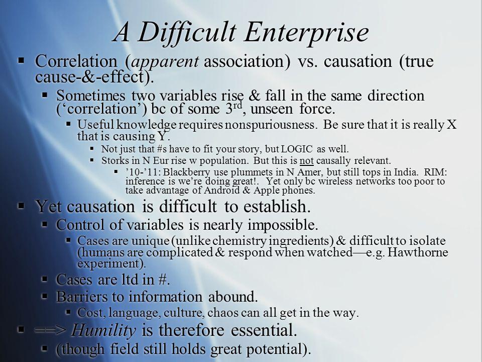 A Difficult Enterprise  Correlation (apparent association) vs.
