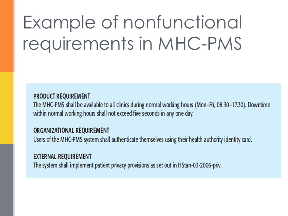 Example of nonfunctional requirements in MHC-PMS