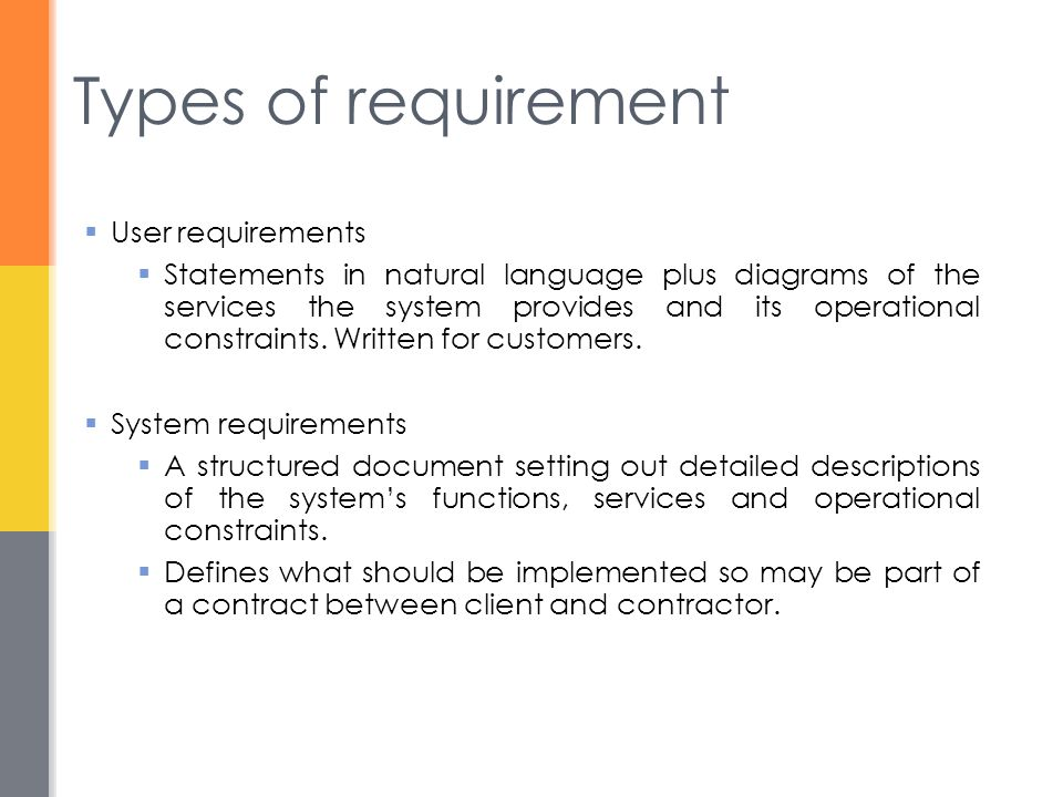 Types of requirement  User requirements  Statements in natural language plus diagrams of the services the system provides and its operational constraints.