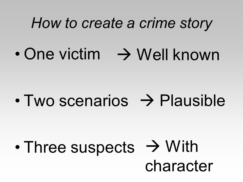 Background –Evidence preparation –Body placement –Side story Lesson –Intro to crime –Booklet –Observation instructions Lesson #1 – Crime Scene Discovery