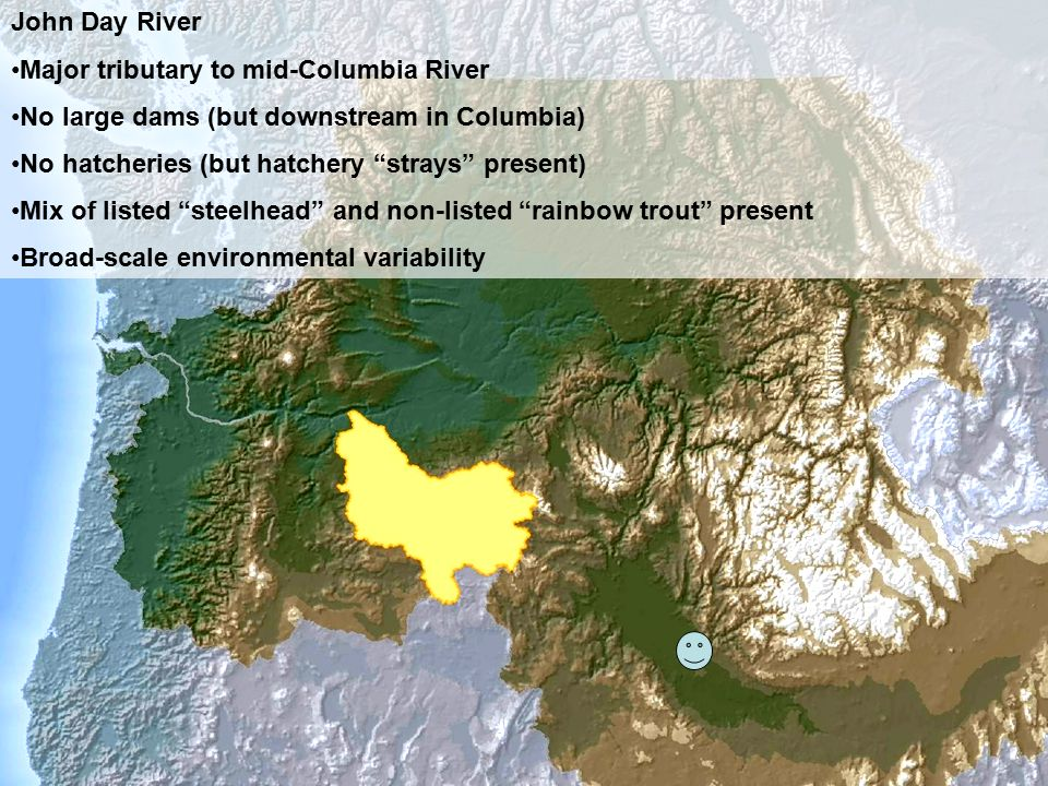 "John Day River Major tributary to mid-Columbia River No large dams (but downstream in Columbia) No hatcheries (but hatchery ""strays"" present) Mix of l"