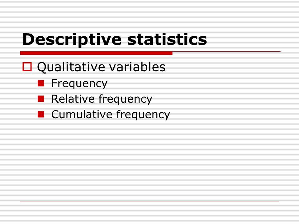 Descriptive statistics  Qualitative variables Frequency Relative frequency Cumulative frequency