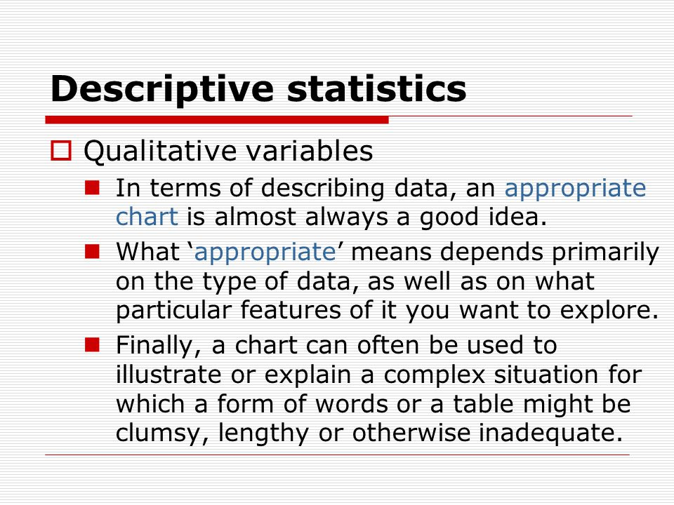 Descriptive statistics  Qualitative variables In terms of describing data, an appropriate chart is almost always a good idea.