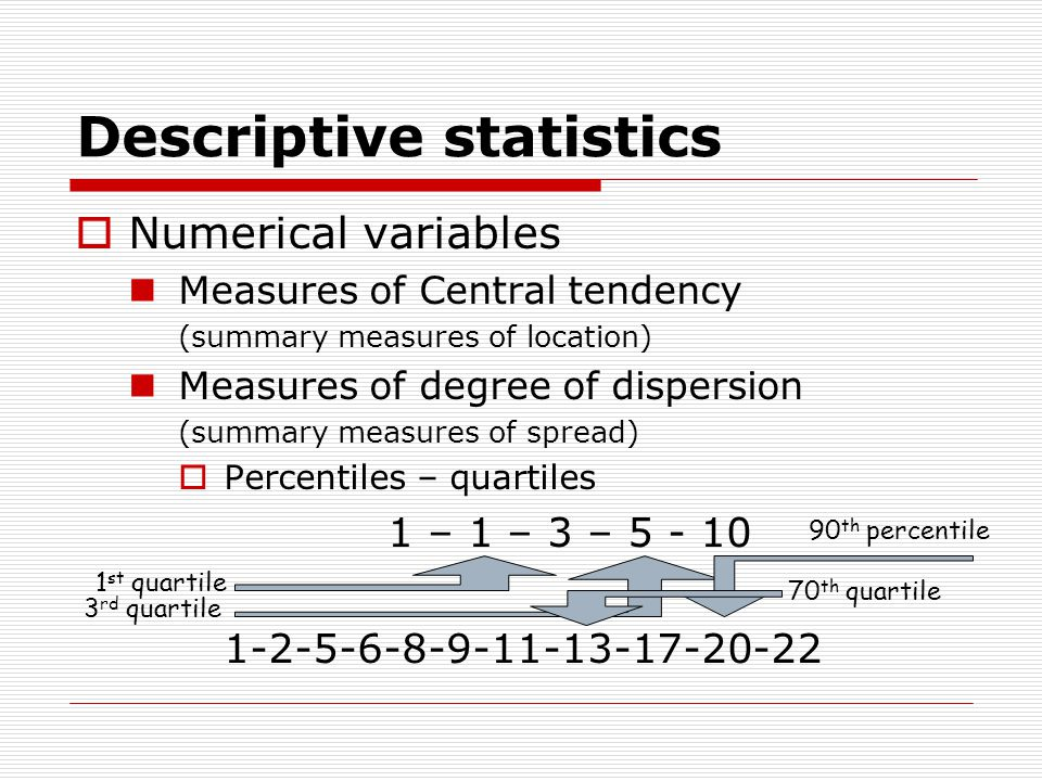 Descriptive statistics  Numerical variables Measures of Central tendency (summary measures of location) Measures of degree of dispersion (summary measures of spread)  Percentiles – quartiles 1 – 1 – 3 – 5 - 10 1-2-5-6-8-9-11-13-17-20-22 1 st quartile 3 rd quartile 70 th quartile 90 th percentile