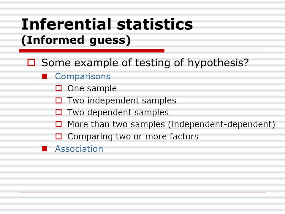 Inferential statistics (Informed guess)  Some example of testing of hypothesis.