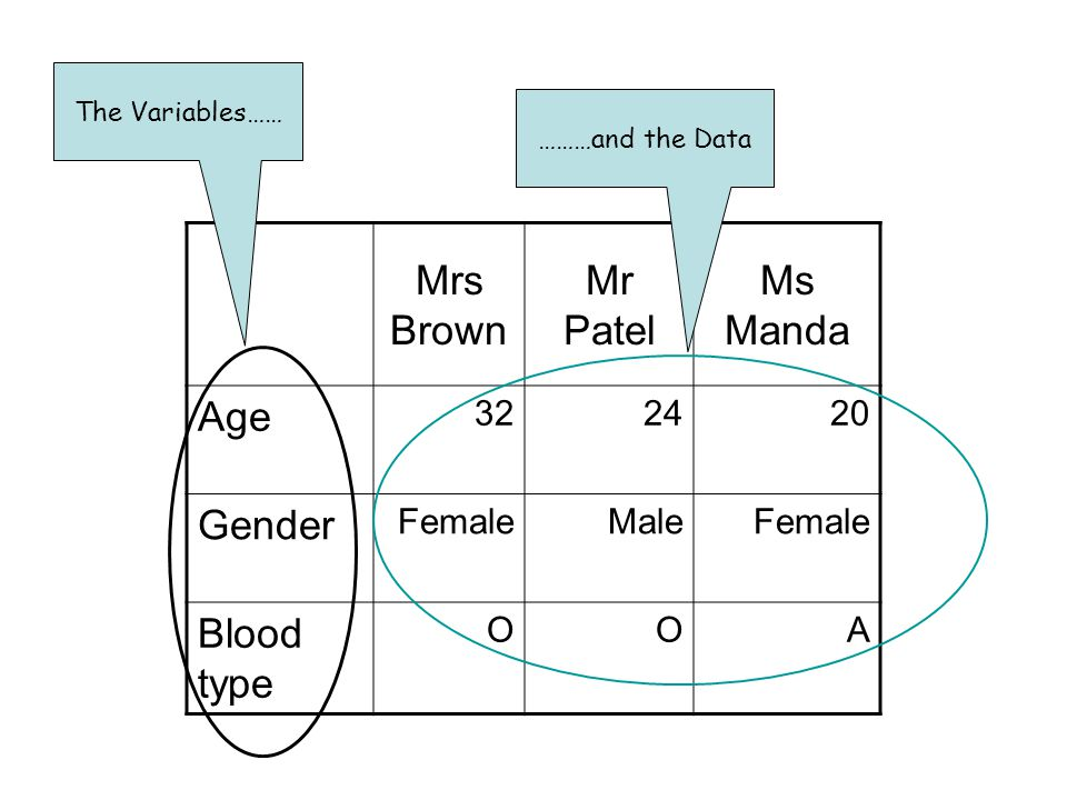Mrs Brown Mr Patel Ms Manda Age 322420 Gender FemaleMaleFemale Blood type OOA The Variables…… ………and the Data