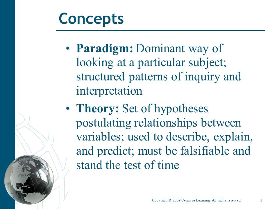 Copyright © 2009 Cengage Learning. All rights reserved.2 Concepts Paradigm: Dominant way of looking at a particular subject; structured patterns of in