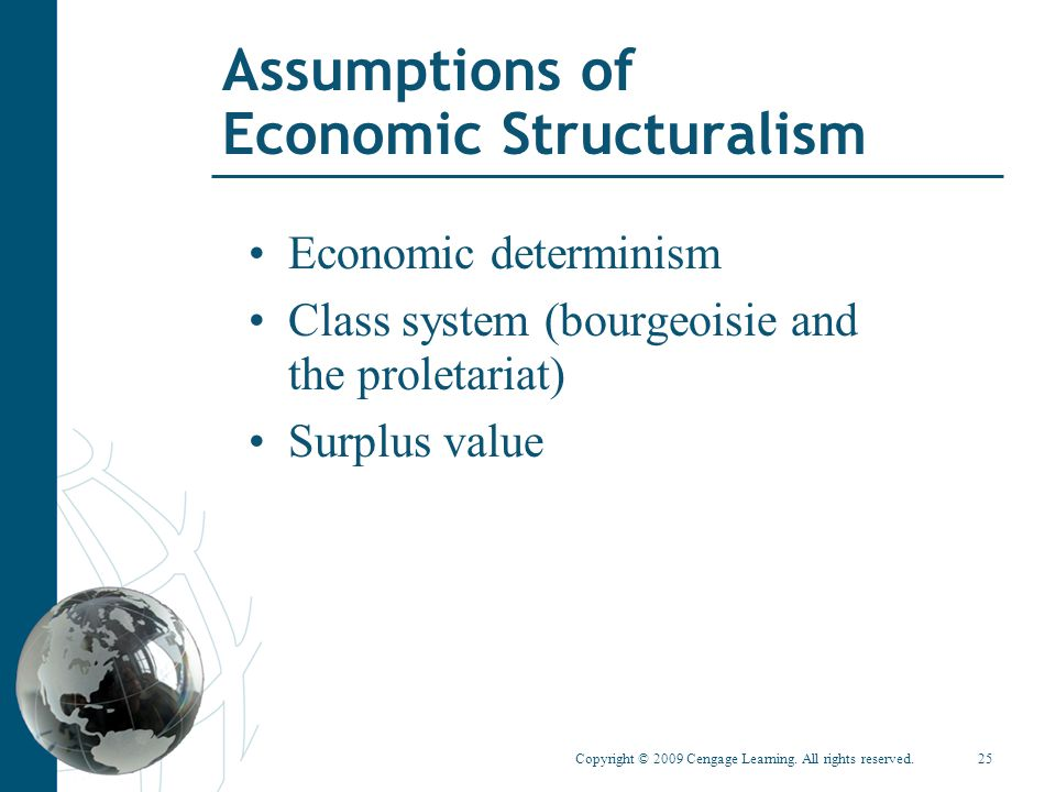 Copyright © 2009 Cengage Learning. All rights reserved.25 Assumptions of Economic Structuralism Economic determinism Class system (bourgeoisie and the