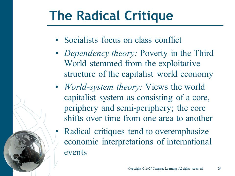 Copyright © 2009 Cengage Learning. All rights reserved.29 The Radical Critique Socialists focus on class conflict Dependency theory: Poverty in the Th
