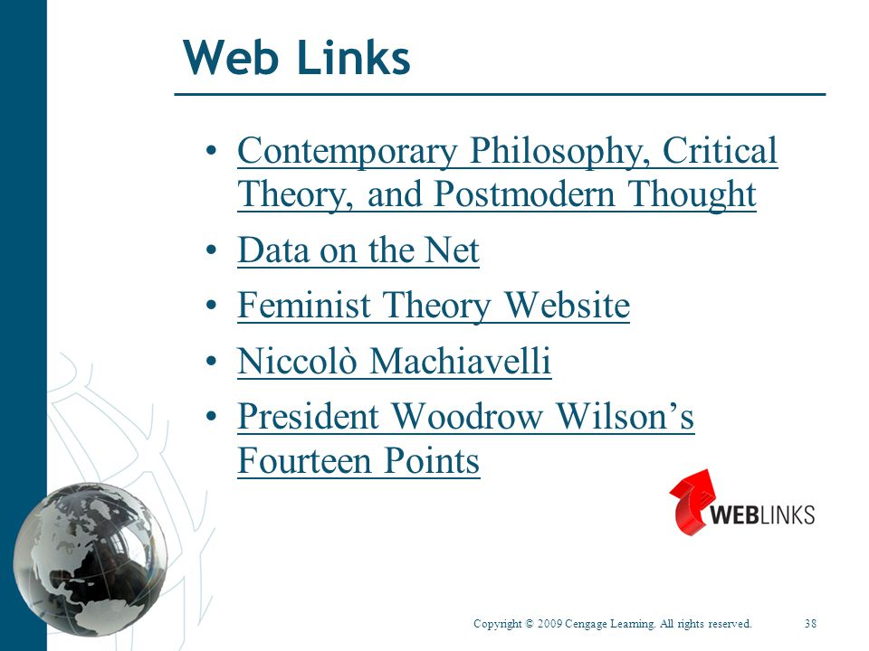 Copyright © 2009 Cengage Learning. All rights reserved.38 Web Links Contemporary Philosophy, Critical Theory, and Postmodern ThoughtContemporary Philo