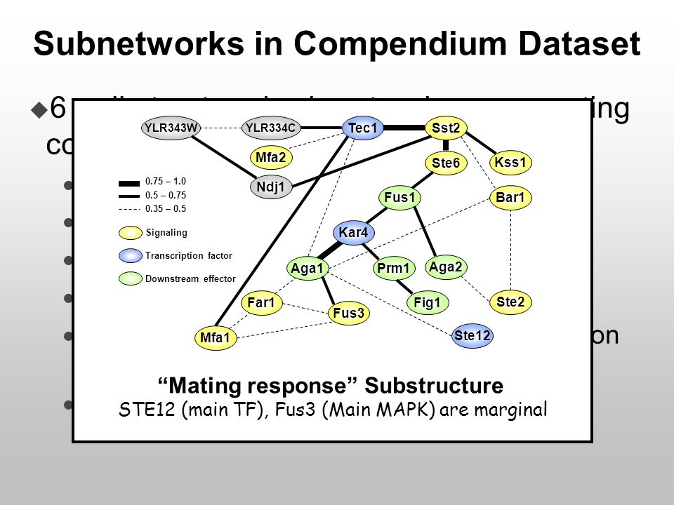 Subnetworks in Compendium Dataset  6 well structured sub-networks representing coherent molecular responses  Mating  Iron Metabolism  Low osmolari