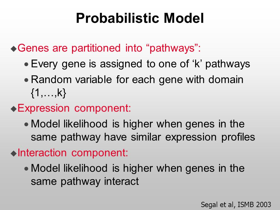 "Probabilistic Model  Genes are partitioned into ""pathways"":  Every gene is assigned to one of 'k' pathways  Random variable for each gene with doma"