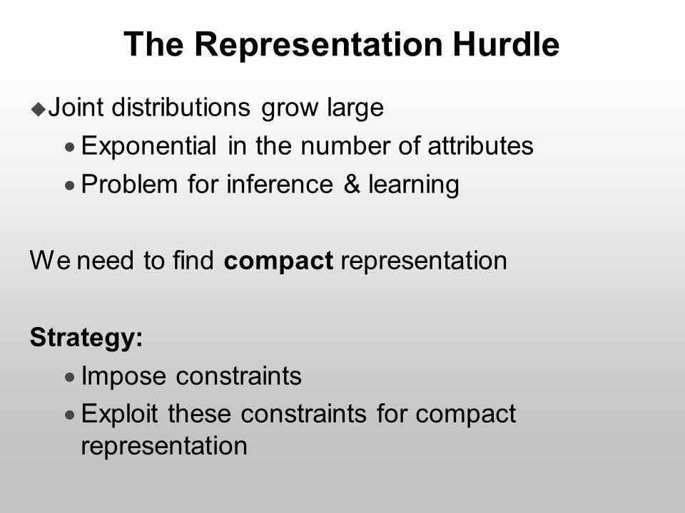 The Representation Hurdle  Joint distributions grow large  Exponential in the number of attributes  Problem for inference & learning We need to fin