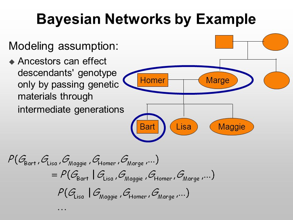Bayesian Networks by Example Modeling assumption:  Ancestors can effect descendants' genotype only by passing genetic materials through intermediate