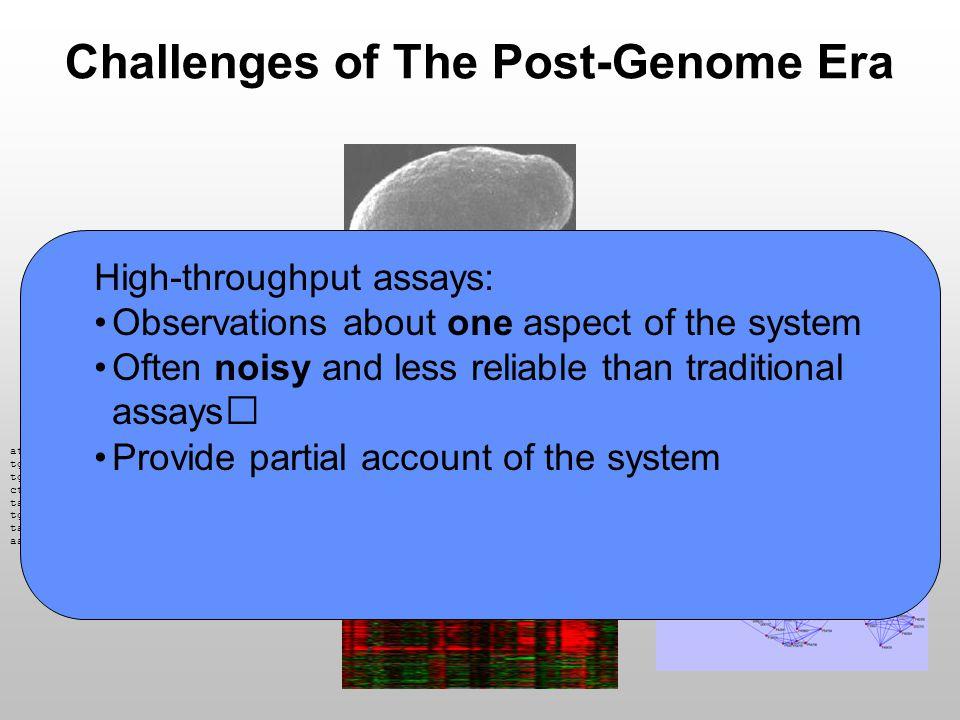 Challenges of The Post-Genome Era attttgggccagtgaatttttttctaagctaatatagttatttggacttt tgacatgactttgtgtttaattaaaacaaaaaaagaaattgcagaagtgt tgtaagcttgtaaaaaaattcaaacaatgcagacaaatgtgtctcgcagt cttccactcagtatcatttttgtttgtaccttatcagaaatgtttctatg tacaagtctttaaaatcatttcgaacttgctttgtccactgagtatatta tggacatcttttcatggcaggacatatagatgtgttaatggcattaaaaa taaaacaaaaaactgattcggccgggtacggtggctcacgcctgtaatcc aattgtgctctgcaaattatgatagtgatctgtatttactacgtgcatat High-throughput assays: Observations about one aspect of the system Often noisy and less reliable than traditional assays Provide partial account of the system