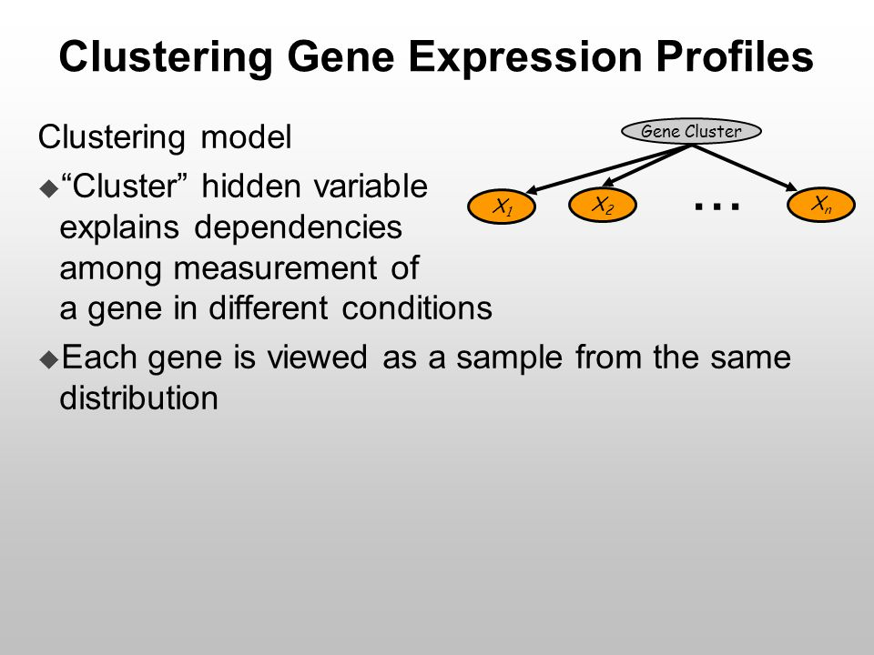"Clustering Gene Expression Profiles Clustering model  ""Cluster"" hidden variable explains dependencies among measurement of a gene in different condit"