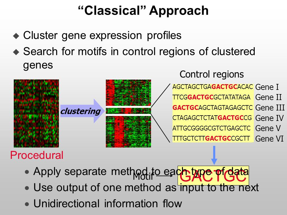 """Classical"" Approach  Cluster gene expression profiles  Search for motifs in control regions of clustered genes clustering AGCTAGCTGAGACTGCACAC TTCG"