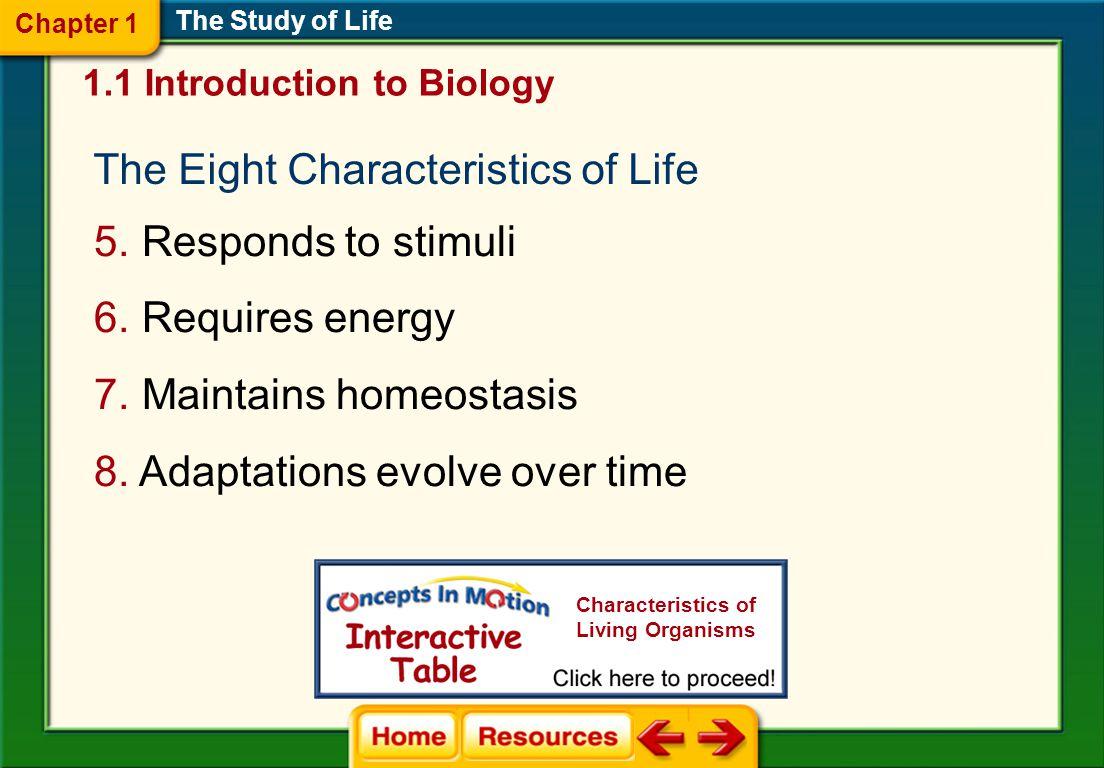 The Eight Characteristics of Life 5.Responds to stimuli 6.