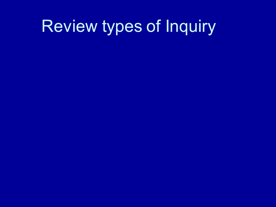 Review types of Inquiry