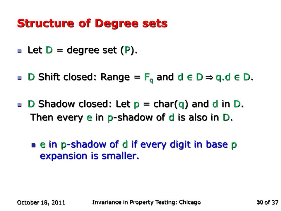 of 37 Structure of Degree sets October 18, 2011 Invariance in Property Testing: Chicago 30