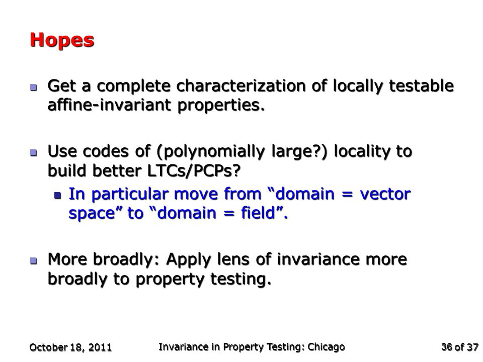 of 37 Hopes Get a complete characterization of locally testable affine-invariant properties.