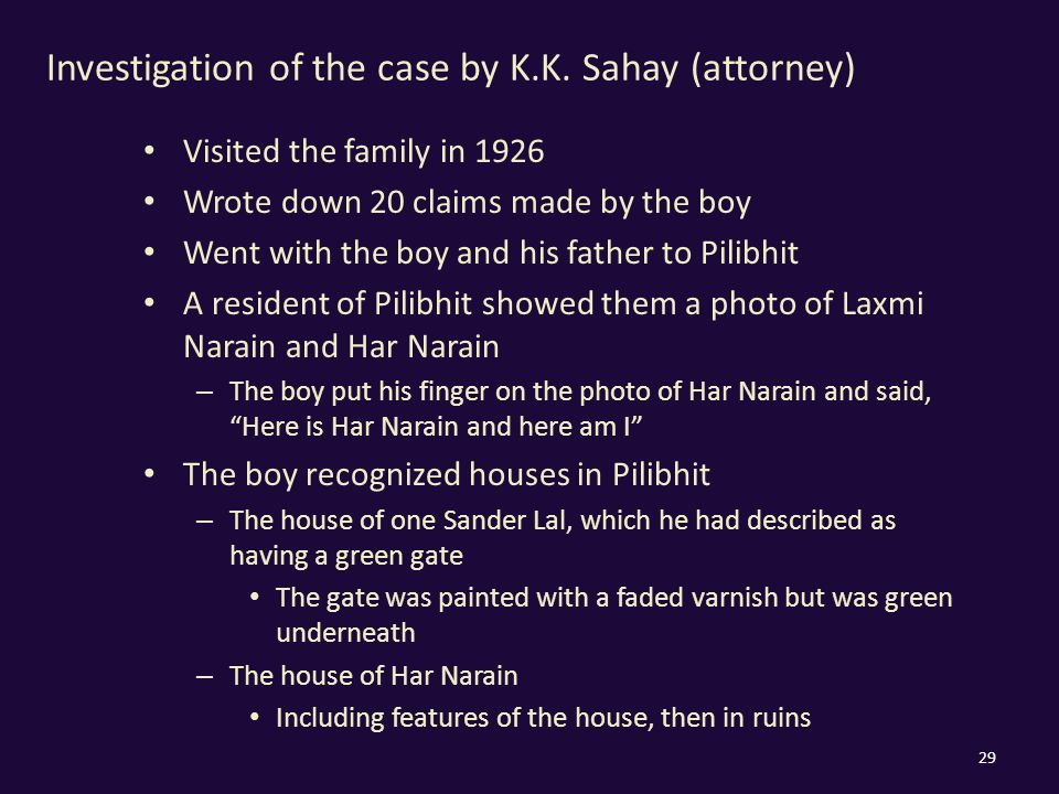 Investigation of the case by K.K.