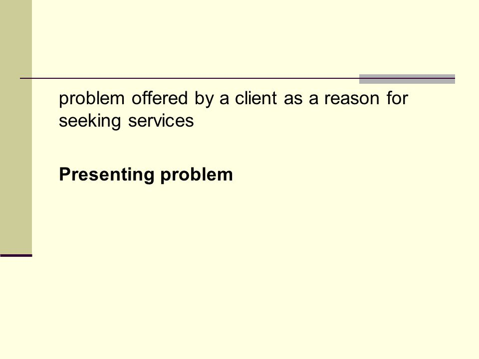 problem offered by a client as a reason for seeking services Presenting problem