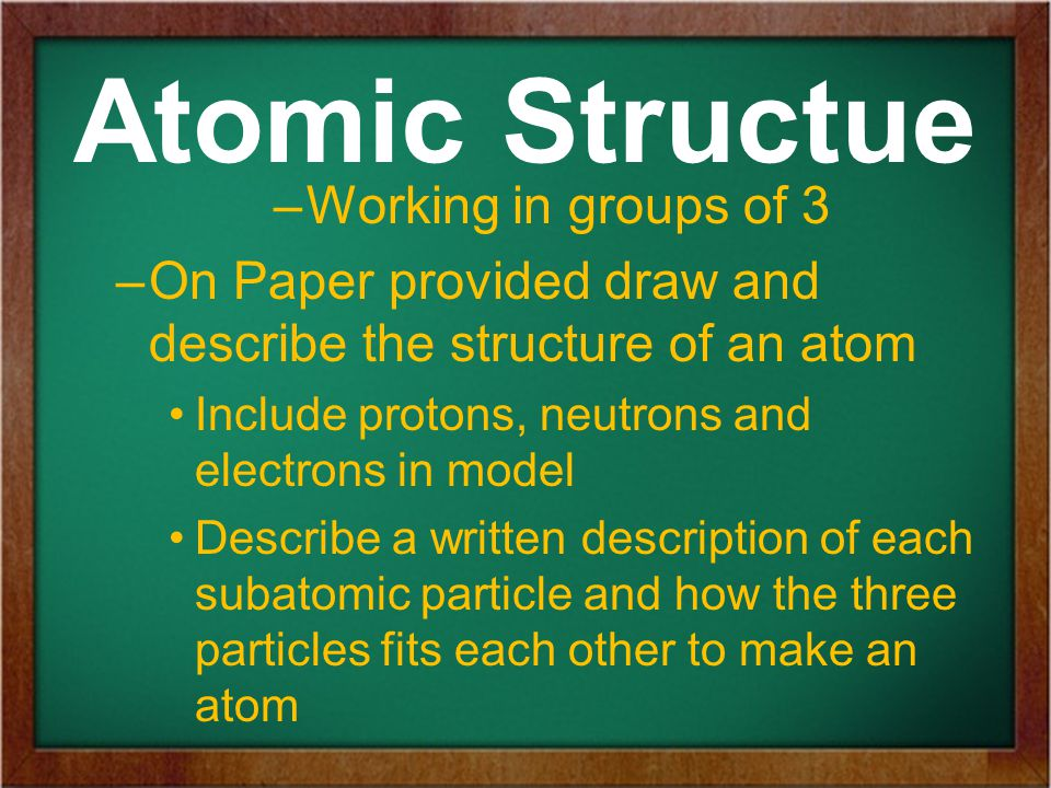 Atomic Structue –Working in groups of 3 –On Paper provided draw and describe the structure of an atom Include protons, neutrons and electrons in model Describe a written description of each subatomic particle and how the three particles fits each other to make an atom