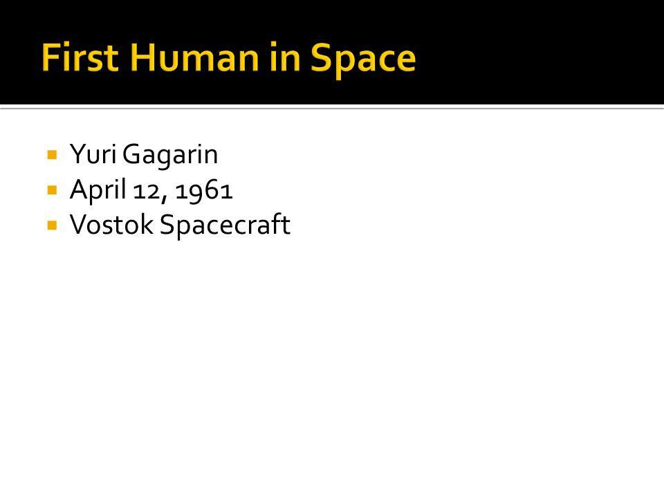  Yuri Gagarin  April 12, 1961  Vostok Spacecraft