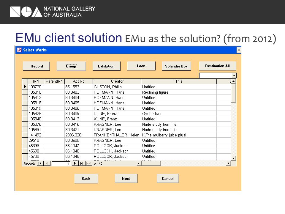 EMu client solution EMu as the solution.