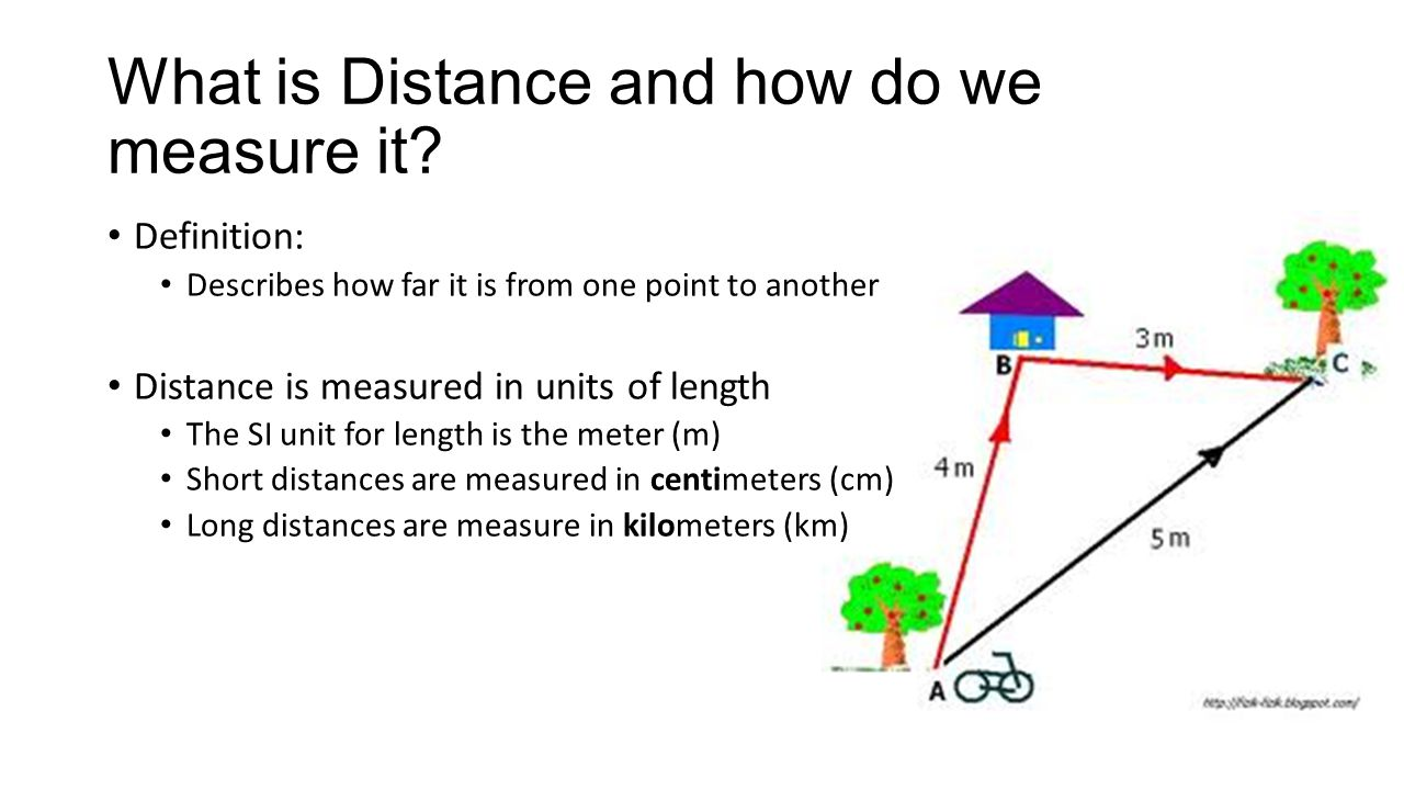 What is Distance and how do we measure it? Definition: Describes how far it is from one point to another Distance is measured in units of length The S