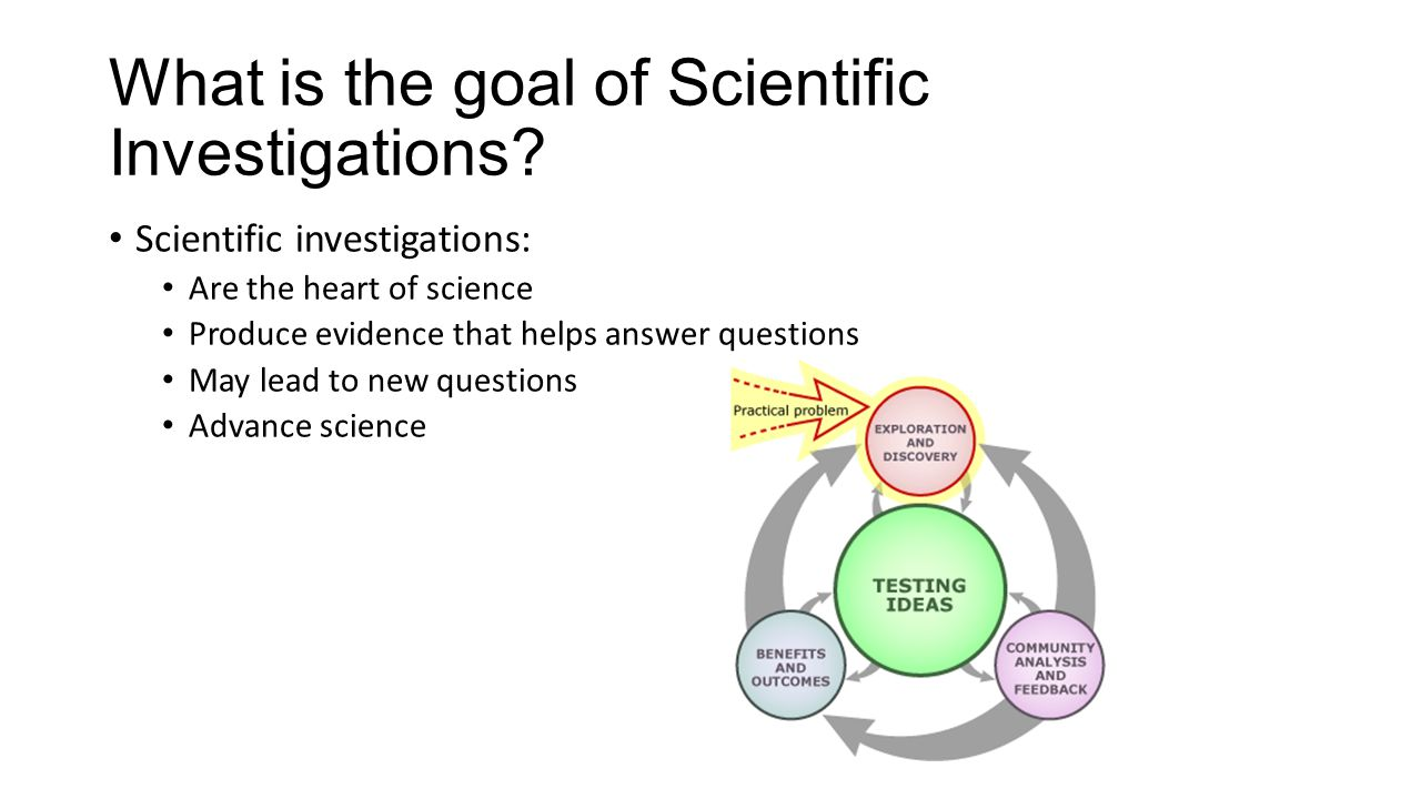 What is the goal of Scientific Investigations? Scientific investigations: Are the heart of science Produce evidence that helps answer questions May le