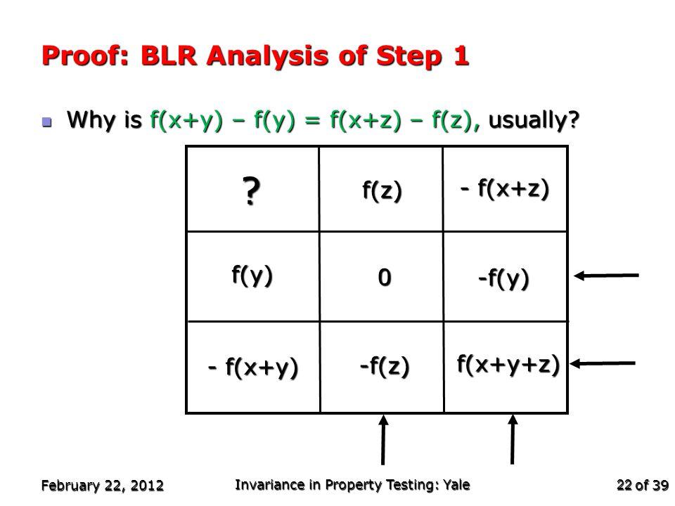 of 39 Proof: BLR Analysis of Step 1 Why is f(x+y) – f(y) = f(x+z) – f(z), usually? Why is f(x+y) – f(y) = f(x+z) – f(z), usually? February 22, 2012 In