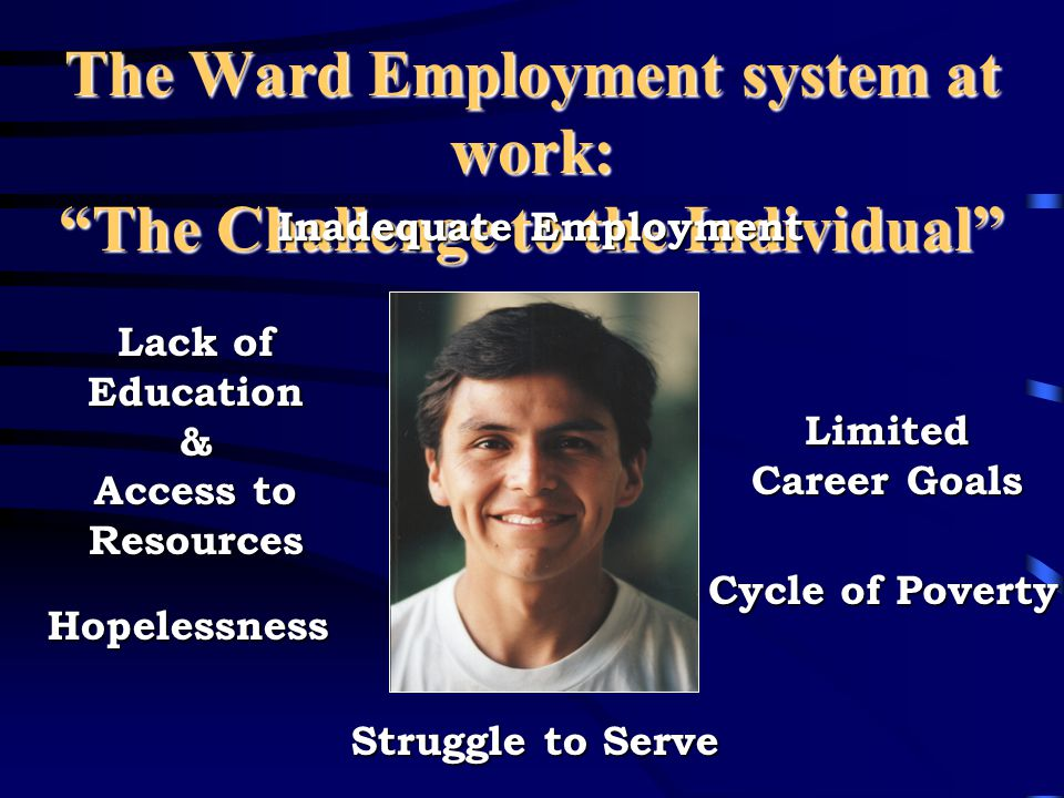 The Ward Employment system at work: The Challenge to the Individual Inadequate Employment Struggle to Serve Hopelessness Lack of Education & Access to Resources Limited Career Goals Cycle of Poverty