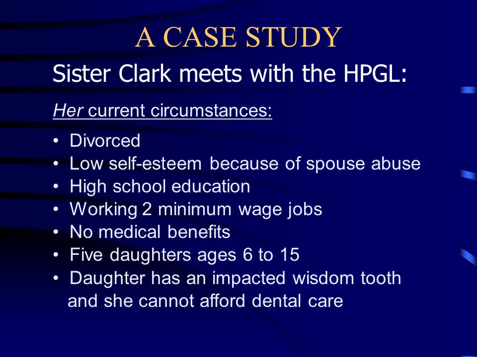 A CASE STUDY Developing a plan: The bishop then explains that the HPGL will assist her as she develops a Self-Reliance plan that will help her determine: Current circumstances Desired outcomes Resources she will need Resources available