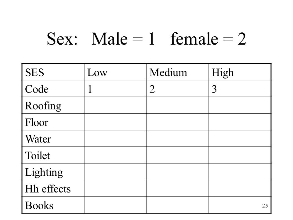 25 Sex: Male = 1 female = 2 SESLowMediumHigh Code123 Roofing Floor Water Toilet Lighting Hh effects Books
