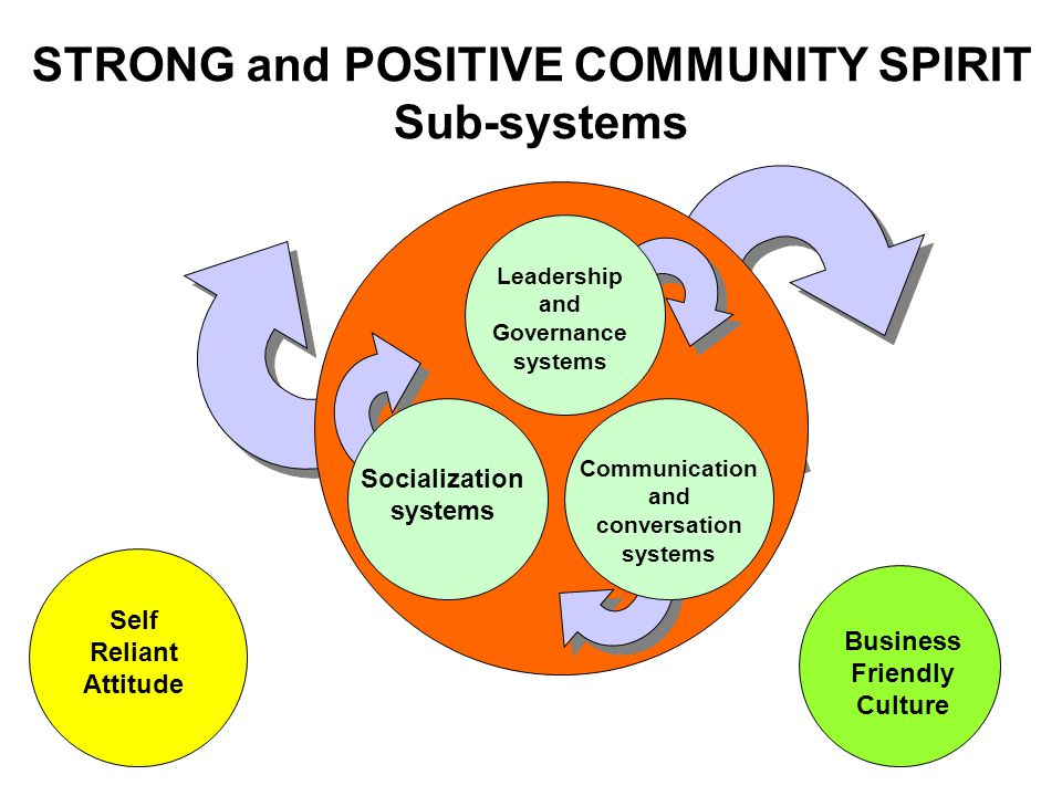 Business Friendly Culture Self Reliant Attitude STRONG and POSITIVE COMMUNITY SPIRIT Sub-systems Leadership and Governance systems Communication and conversation systems Socialization systems