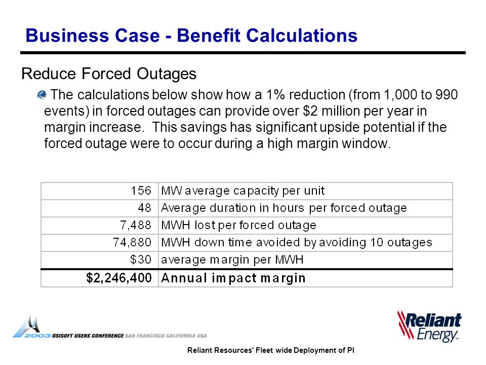 Reliant Resources' Fleet wide Deployment of PI Business Case - Benefit Calculations Reduce Forced Outages The calculations below show how a 1% reducti