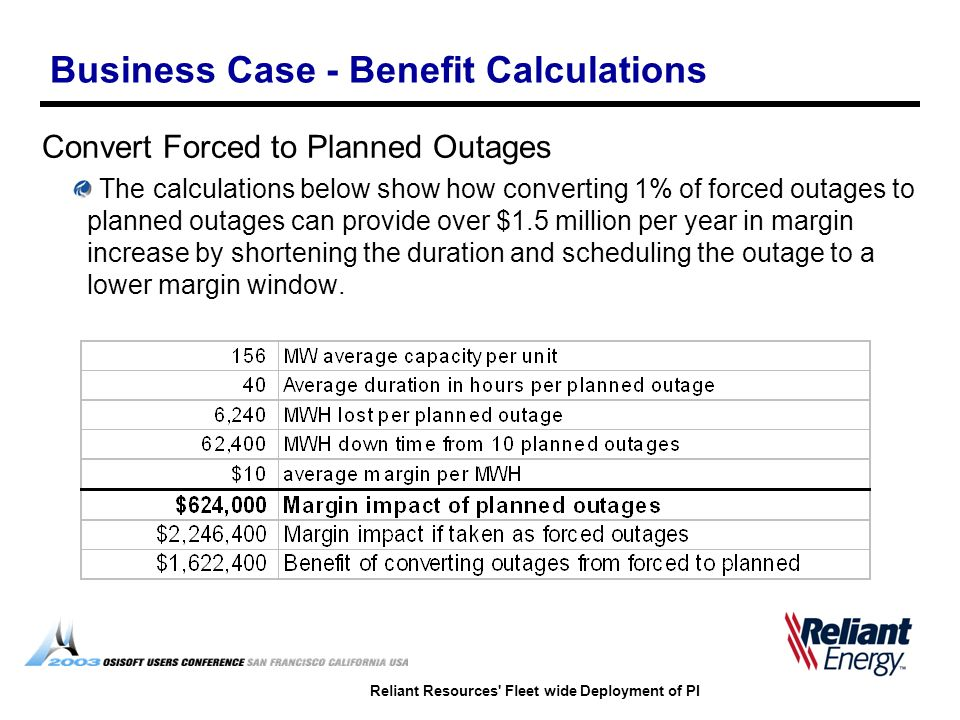 Reliant Resources' Fleet wide Deployment of PI Business Case - Benefit Calculations Convert Forced to Planned Outages The calculations below show how