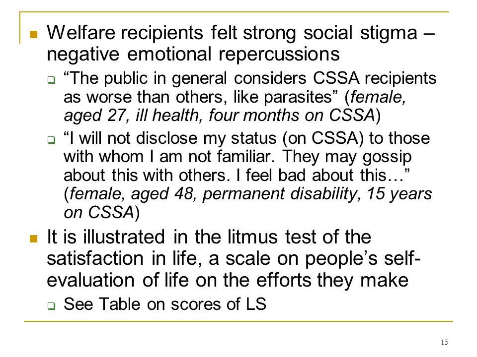 "15 Welfare recipients felt strong social stigma – negative emotional repercussions  ""The public in general considers CSSA recipients as worse than ot"