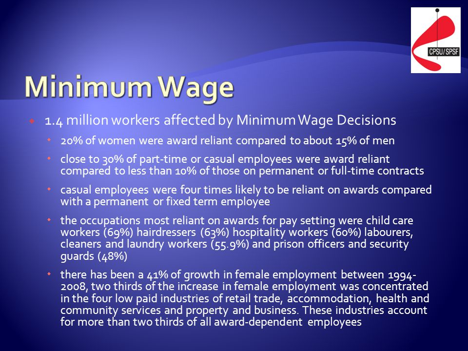  1.4 million workers affected by Minimum Wage Decisions  20% of women were award reliant compared to about 15% of men  close to 30% of part-time or