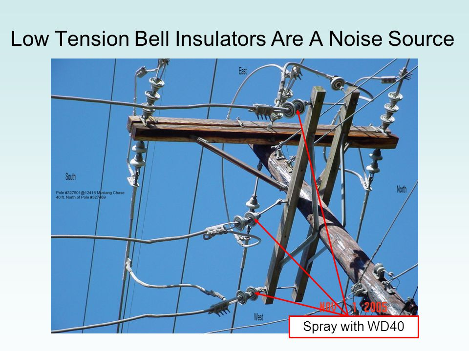 Note the slack span and bell insulators