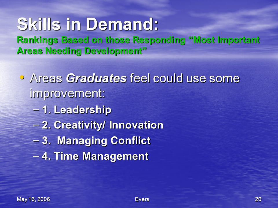 May 16, 2006Evers20 Skills in Demand: Rankings Based on those Responding Most Important Areas Needing Development Areas Graduates feel could use some improvement: Areas Graduates feel could use some improvement: – 1.