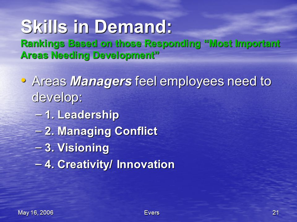 May 16, 2006Evers21 Skills in Demand: Rankings Based on those Responding Most Important Areas Needing Development Areas Managers feel employees need to develop: Areas Managers feel employees need to develop: – 1.