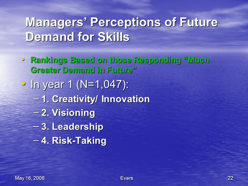 May 16, 2006Evers22 Managers' Perceptions of Future Demand for Skills Rankings Based on those Responding Much Greater Demand in Future Rankings Based on those Responding Much Greater Demand in Future In year 1 (N=1,047): In year 1 (N=1,047): – 1.